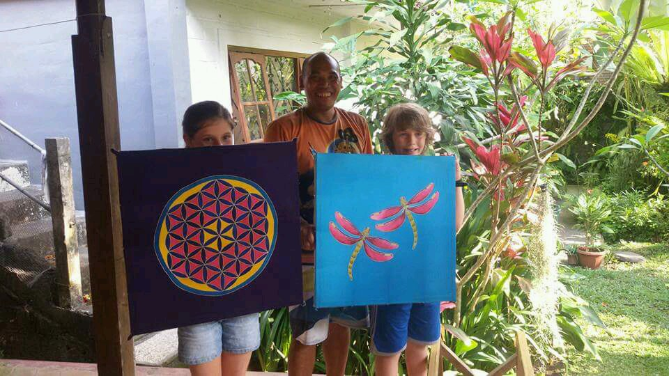 child bali silk batik painting