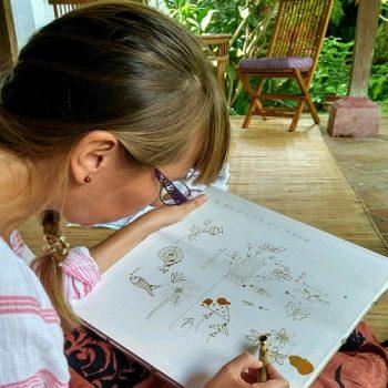 maria bali silk painting